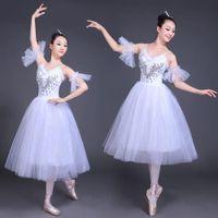 bale giymek yetişkinler toptan satış-Beyaz Kuğu Gölü Bale Sahne giyim Kostümleri Yetişkin Romantik Tabağı Bale Elbise Kız Kadınlar Klasik Tutu Dans giymek Suit