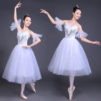 ingrosso costume cigno adulto-White Swan Lake Ballet Stage wear Costumi Adult Romantic Platter Balletto Dress Girls Women Classico Tutu Dance Wear Suit