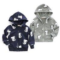 кофты динозавров оптовых-2018 Infant Baby Boys Dinosaur Jacket Zipper Hooded Coat Hooded Solid Autumn Hoodies Warm Sweatshirt
