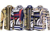 novo vestido de design para homens venda por atacado-Brand new homens de luxo camisa projeta 3D Cor estampas Florais de manga longa dos homens camisas de vestido Medusa Camisas casuais