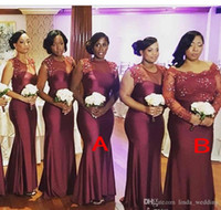 ingrosso abiti da sposa in onore-2018 Summer Spring Abito da damigella d'onore Borgogna African Nigerian Country Garden Wedding Party Guest Maid of Honor Abito Plus Size Custom Made