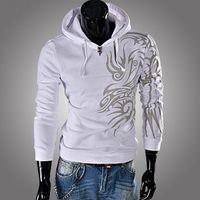 xxl koreanische kleidung großhandel-Herbst neue mode koreanisch männer clothing dragon print langhülse mit kapuze sweatshirt heißer verkauf