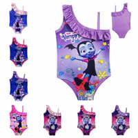 Wholesale girls character swimwear online - Vampirina kids swimwear T Baby Girls Swimsuit Vampirina Printed One pieces swim suit Cartoon Printed Swimsuit Bathing Suits MMA394