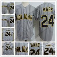 Wholesale white shirt button up - Hot Sale Bruno Mars #24K Hooligans Baseball Jersey Gray Pinstripe White Stitched Doo-Wops Singers Bruno Mars 24K Magic Button Up Shirts