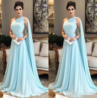 2018 Mint Chiffon Evening Dresses Long Elegant One Shoulder Ruched Cutaway  Side With Shawl Formal Party Dresses Party Wear 90af33f8b0ff