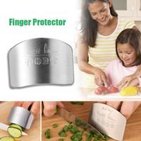cuchillos de cocina seguros al por mayor-Nueva Cocina Portátil de Acero Inoxidable Protector de Mano Cuchillo Protector de Dedos Slice Chop Safe Slice Herramienta de Cocina # 55301