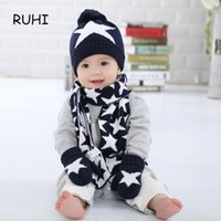 Wholesale Baby Hat Scarf Gloves Set - Christmas Gift Boy Girl Hat Scarf And Gloves Set Children Cap Baby Girls Winter Fashion Kids Hats Boys Star Print 3 Pieces Sets