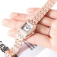 Wholesale Diamond Band Watches - Dress ladies watch luxury brand diamond bezel 30mm dial Full Stainless Steel band fashion female quartz watches for women girls best gifts