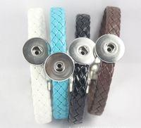 pu diy armbänder großhandel-Qualität PU-Magnetarmbänder wechselbare 18mm Frauen Weinlese-DIY-Druckcharme-Knopfmanschettenarmbänder noosa Art Schmucksachen 12pcs / lot