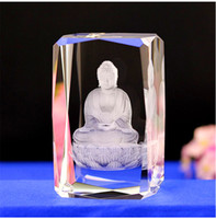 Wholesale 3d Glasses China - Fine Crystal Glass Cube Buddha Model Paperweight 3D Laser Engraved Tower Bridge Eye Big Ben Figurines Feng Shui Souvenirs Crafts