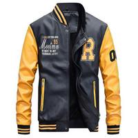 xs sahte deri ceket erkek toptan satış-Motosiklet Deri Ceket Erkekler Koleji Lüks Polar Beyzbol Bombacı Ceketler Faux Deri Palto Mens Kış Pilot Bombacı Ceket