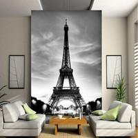 Wholesale Backdrop City - Custom 3D Wall Mural Photo Wallpaper Eiffel Tower Paris City Nostalgia Gray Wall Contact Paper For Living Room TV Sofa Backdrop
