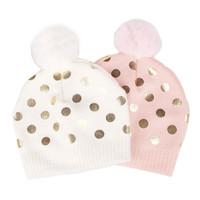 beanie şapka tasarımı toptan satış-INS bebek kış açık sıcak Tığ şapka Altın Polka Dots Tasarım şapka ile Bir Top Kız Çocuklar Moda Beanies Şapka