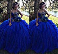 satılık mavi toplar toptan satış-Sıcak Satış Kraliyet Mavi Balo Quinceanera Elbiseler 2018 Dantel Aplike Tatlı 16 ile Pageant Gelinlik Modelleri Parti Kıyafeti