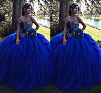 balles bleues à vendre achat en gros de-Vente chaude robe de bal royale bleu robe de Quinceanera robes 2018 avec dentelle appliques douce 16 Pageant robes de bal robe de soirée