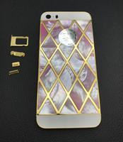 carcaça do iphone 5s bezel venda por atacado-10 pçs / lote Luxo 24 k Banhado A Ouro de Ouro Moldura De Metal Habitação Shell Natural Embutidos para iPhone 5S tampa da bateria de apuramento VENDA !!