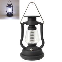 Wholesale solar dynamo camping light resale online - High Quality Super Bright Outdoor LED Light Solar Panel Hand Crank Dynamo Lamp Camping Lantern Q0763