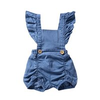 Wholesale girl jumpsuit denim baby - Infant Baby Girls Denim Ruffles Rompers 2018 Newborn Baby Girl Clothes Babies Fashion Flutter Sleeve Jumpsuits Kids Clothing
