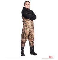 4xl jagdkleidung großhandel-Eu 38-45 Angeln Wasserdicht Stricken Wathose Kleidung Hosen Verschleißfeste Mit Anti-Rutsch-Stiefel Landwirtschaft Camouflage Jagd Hosen