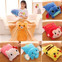 Wholesale cartoon blanket cushion - High quality Cartoon pillow and cushion air conditioning blanket afternoon sleep gift Christmas Gifts Blankets T2I376