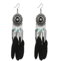 Wholesale vintage colorful resin for sale - Group buy New Vintage Silver Colorful Feather Drop Earrings For Women Ethinic Blue Beads Carved Flower Leaf Dangle Earring YG