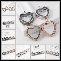 Wholesale lockets for sale - 13 Styles mm Rhinestones Glass Floating Locket Pendant Alloy Magnetic Memory Glass Frames Floating Charms Lockets DIY Jewelry Necklace