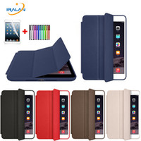 Atacado-Case para Apple New iPad 9.7 2017 Original Tri-fold elegante Ultra Slim PU Leather Cover para iPad 2017 9.7 A1822 + Screen film + stylus