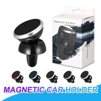 Wholesale universal smartphone car mount - Car Mount Air Vent Car Holder Magnetic Phone Holder For iPhone X 7 8 Plus With 360 Degree Rotation Mini Car Holder For Smartphone In Packing