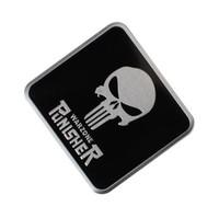 emblèmes auto crâne achat en gros de-Symbole de punisseur cool autocollant tête de crâne style de voiture emblème en métal autocollants 3D autocollant de marque créative autocollants automatiques [option du logo plus crâne]