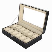 organizador del reloj 12 rejilla al por mayor-Caja de reloj 12 rejilla relojes de cuero caso de la joyería colección organizador de almacenamiento titular de la caja regalo de la caja para rolex_watch