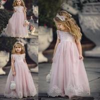kızlar light pink pageant dress toptan satış-2018 Güzel Işık Pembe Çiçek Kız Elbise Düğün İçin Özel Durum Çocuk Pageant Abiye A-Line Dantel Aplike İlk Communion Elbise