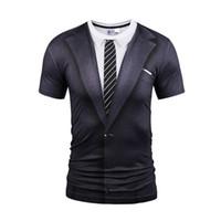 costume noir cravate achat en gros de-Hot New Style Casual Hommes 3D Cravate Impression T-shirt À Manches Courtes Tatouage Costume Noir Costume Impression Numérique D'été Tops