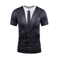 Wholesale Men S Shirt Tattoo - Hot New Style Casual Men 3D Tie Printing T Shirt Short Sleeve Tattoo Black Suit Digital Printing Summer Tops