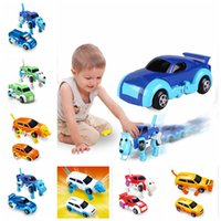 Wholesale winding up toys - Automatic Transform Dog Car Vehicle Clockwork Wind Up Toy for Children Kids Boy Birthday Gift Diecasts Toy DDA328