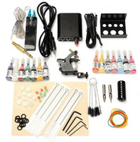 Wholesale tattoo equipment guns kit - Professional Complete Equipment Tattoo Machine Gun 14 Color Inks Power Supply Cord Kit Body Beauty DIY Tools 1 Set 90-264V Free Shipping