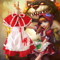 Wholesale Children S Fancy Dress - LOL Game the Dark Child Annie Cosplay Costume Maid Dress Little Red Riding Hood Women Fancy Party for Halloween Christmas