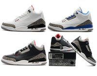 Wholesale Box Sport - High Quality 3 3s White Cement Black Cement 3s White Blue Basketball Shoes Men Sports Sneakers With Shoes Box