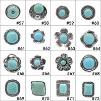 Wholesale Black Costume Jewelry Rings - Retro 152 styles Turquoise Rings Punk Style Green Natural Stone Rings Costume Gemstone Ring Jewelry for Women Men
