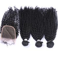 tejido afro 1b al por mayor-Nube Rizado Pelo Rizado 3 Paquetes Con Cierre de Cordón Color Natural 1B Afro rizado Pelo Rizado Teje Con Cierre 4x4