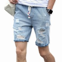 Wholesale light soft blue jeans - 2017 Men 'S Cotton Thin Denim Shorts New Fashion Summer Male Casual Short Jeans Soft And Comfortable Casual Shorts Free Shipping