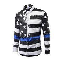 48fcd573b10 Новые мужские рубашки с длинными рукавами мода контраст цветной печати  рубашка молодежи случайные свободные воротник рубашки большой размер топ