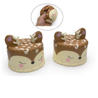Wholesale jumbo size - Size 9.5cm Perfume Jumbo Slow Rising Deer Cake imulation Squishy Spicy Squeeze Vent Deer Cake Squishies Cell Phone Straps Phone Charms
