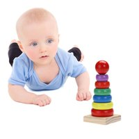Wholesale stacking blocks for sale - Baby Wooden Toy Stacking Ring Tower Rainbow Geometric Assembling Blocks Children Kids Educational Toys Gift