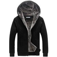 taklit kürk kaplı kışlık palto toptan satış-Kış Sıcak Kalın Erkek Kazak Rahat Faux Kürk Astar Örme Kazak ceket Erkekler Tasarımcı Kapşonlu Hırka Büyük boyutu 5XL