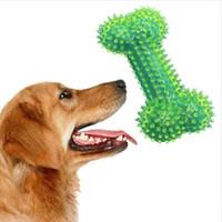 ossos interativos venda por atacado-Brinquedo do cão Pet Dog Mastigar Squeak Toy para Cão Grande Interativo Dentes Osso Limpeza de Borracha Elasticidade Puppy