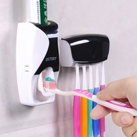 Wholesale Toothpaste Squeezer Wholesale - Creative Automatic Plastic Lazy Toothpaste Dispenser 5 Toothbrush Holder Squeezer Bathroom Shelves Bathing Accessories Toothpaste Dispenser