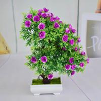 innen künstliche bäume großhandel-Umweltfreundliche mini kunststoff künstliche bonsai bäume kunst topf tablett gefälschte kleine rosenblumen für zuhause indoor weihnachten decoracion gifs