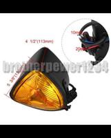 Wholesale Headlights Custom - Black Motorcycle Amber Triangle Headlight Lamp Cafe Racer Chopper Bobber Custom bikes
