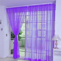 cortinas de bufanda de cenefa al por mayor-Textiles para el hogar Color puro Tulle Party Home Door Window Cortina Drapeado Panel Pañuelo transparente Cenefas Cortinas de alta calidad