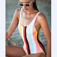 brasilianischer bikini xs großhandel-2018 bikini set sexy badebekleidung frauen bikinis brasilianer set badeanzug weiblich ein stück regenbogen streifen bikini push up crop bikini